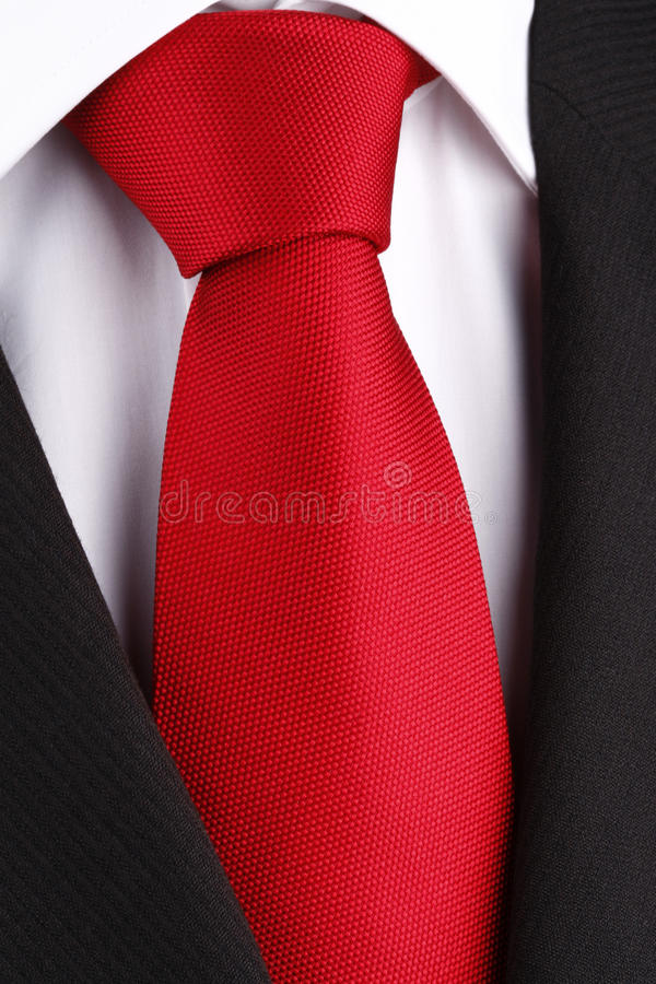 Bright red tie stock photo. Image of knot, white, suit