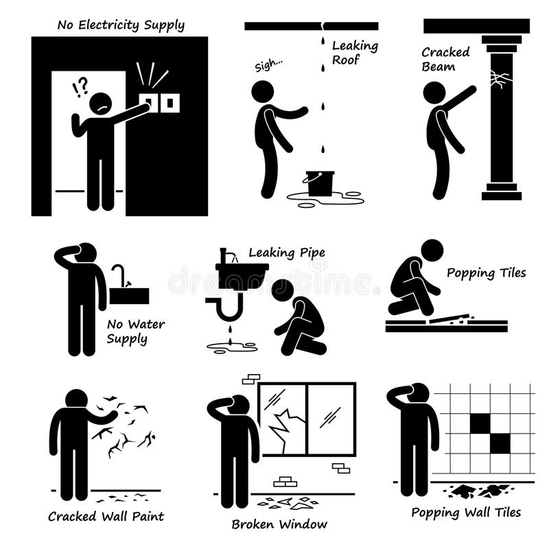 Broken House Old Building Problems Cliparts Icons Stock