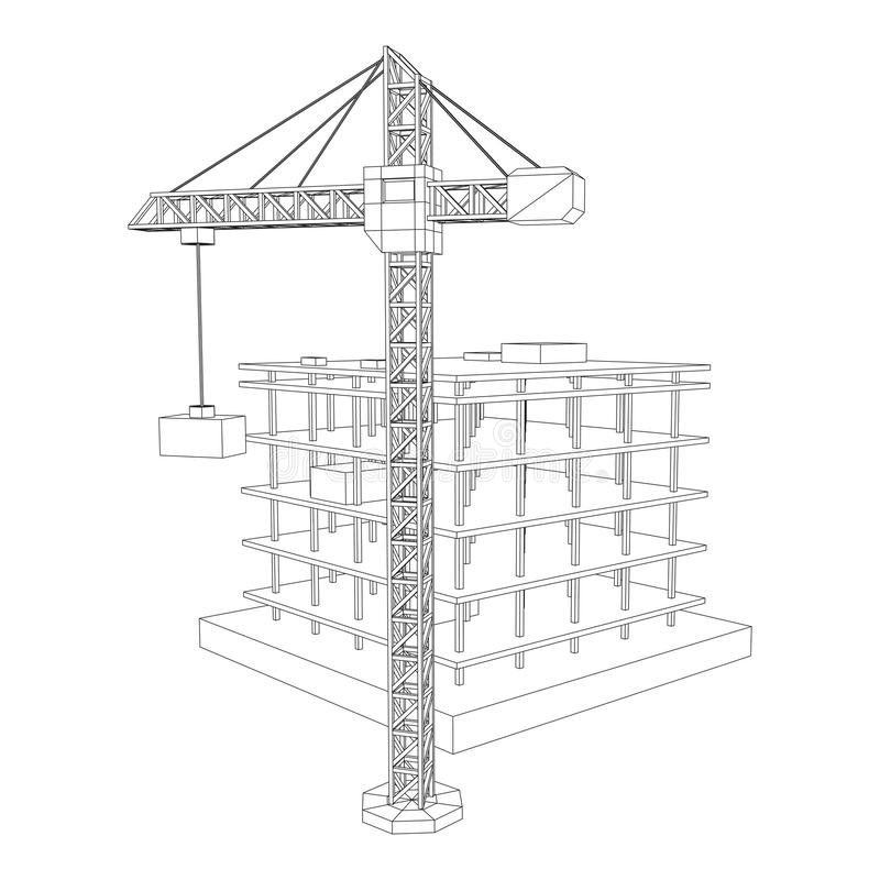 Building Under Construction Wireframe Stock Vector
