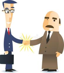 agreement business shaking hands illustration deal cartoon businessmen closing