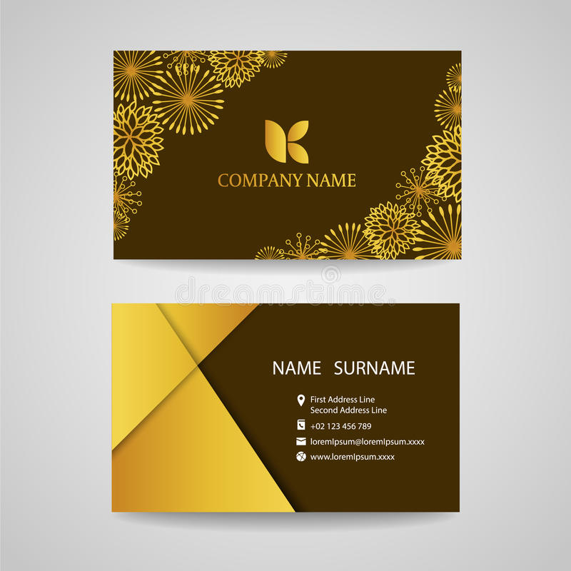 Business Card Gold Floral Frame On Brown Background