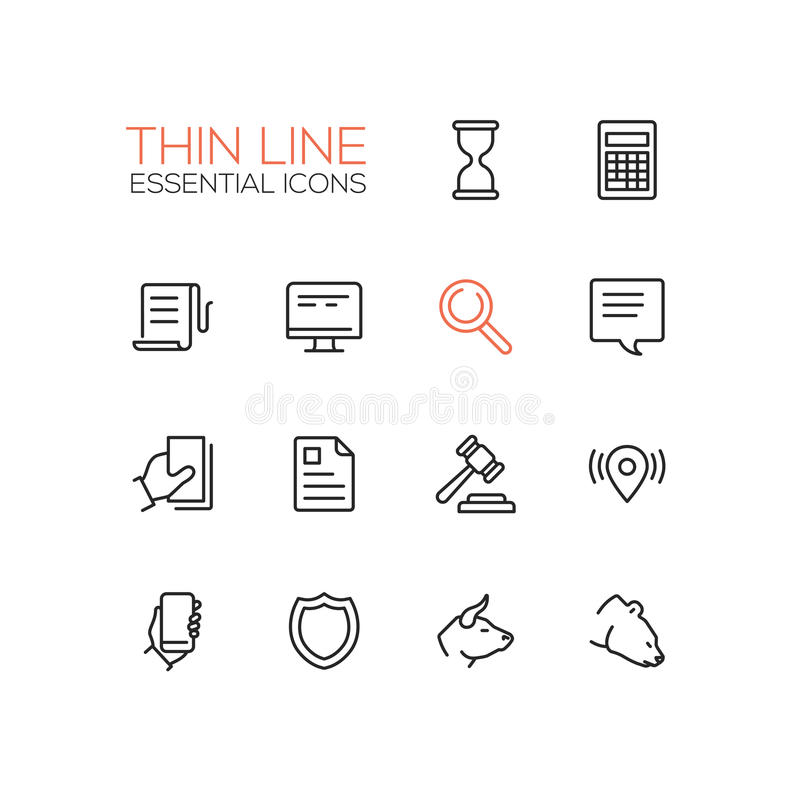 Business, Finance Modern Thin Line Design Icons And
