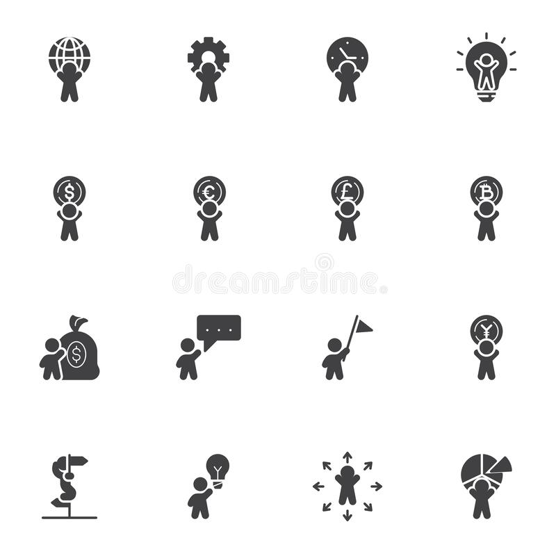 Business Motivation Vector Icons Set Stock Vector