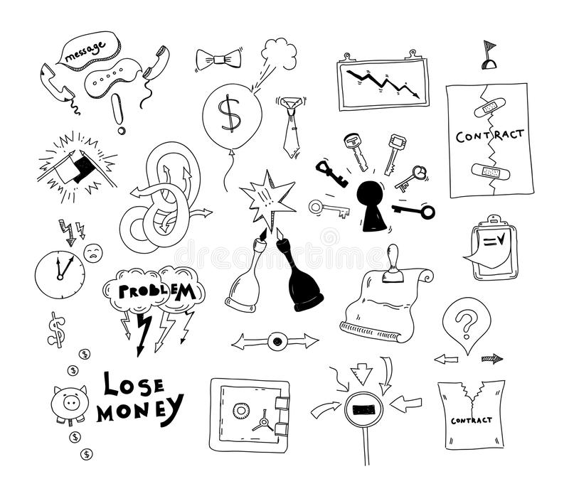 Business Interest Conflict Hand Drawn Illustration Stock