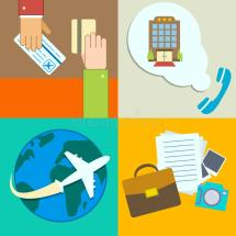 Business Travel Infographics Icons Set Stock Vector
