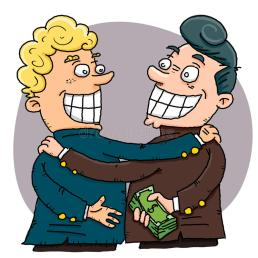 Businessman Giving A Bribe To Another. Stock Vector - Illustration of  bribery, crime: 78600649
