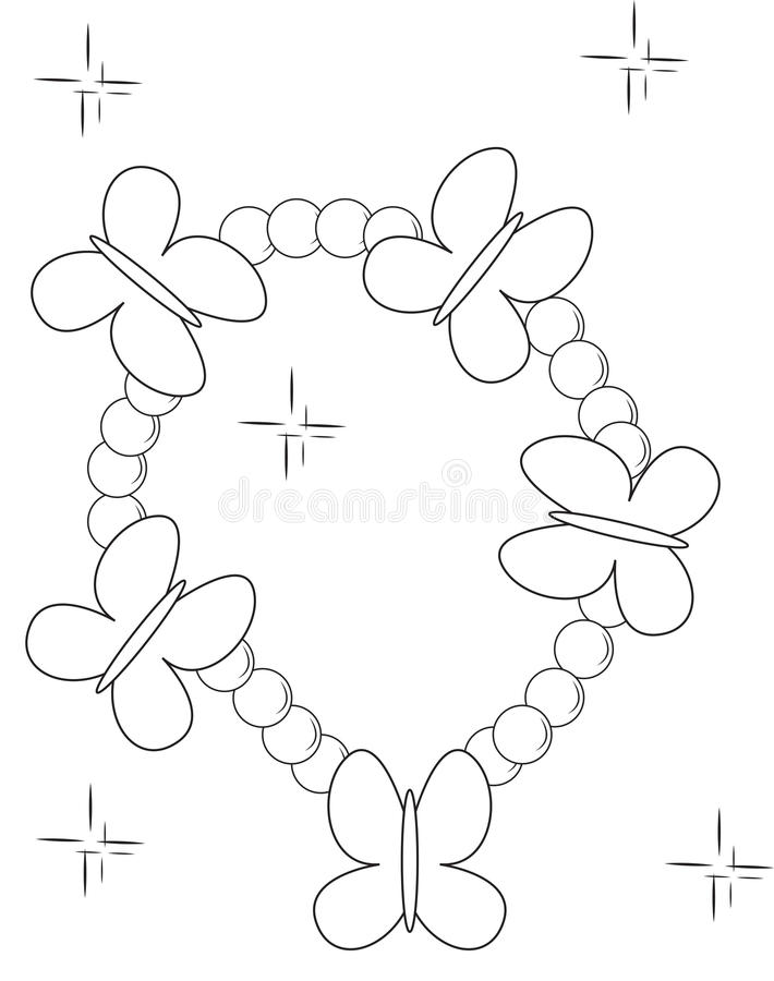 Butterfly Beads Bracelet Coloring Page Stock Illustration