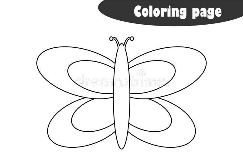 Coloring Page With Butterfly, Kids Activity Stock Vector
