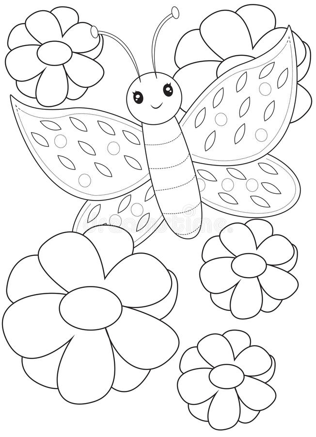 Butterfly coloring page stock illustration. Illustration
