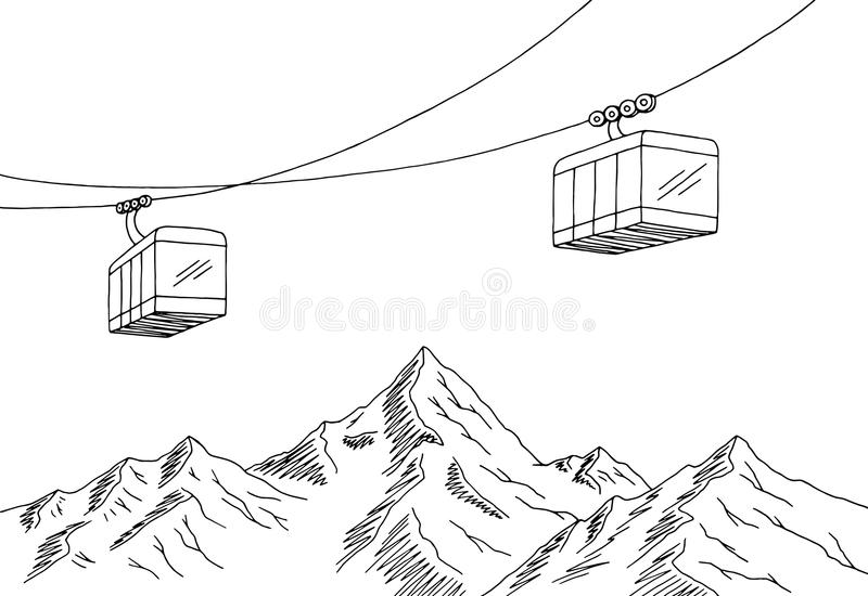 Cable Car Graphic Mountain Black White Landscape Sketch