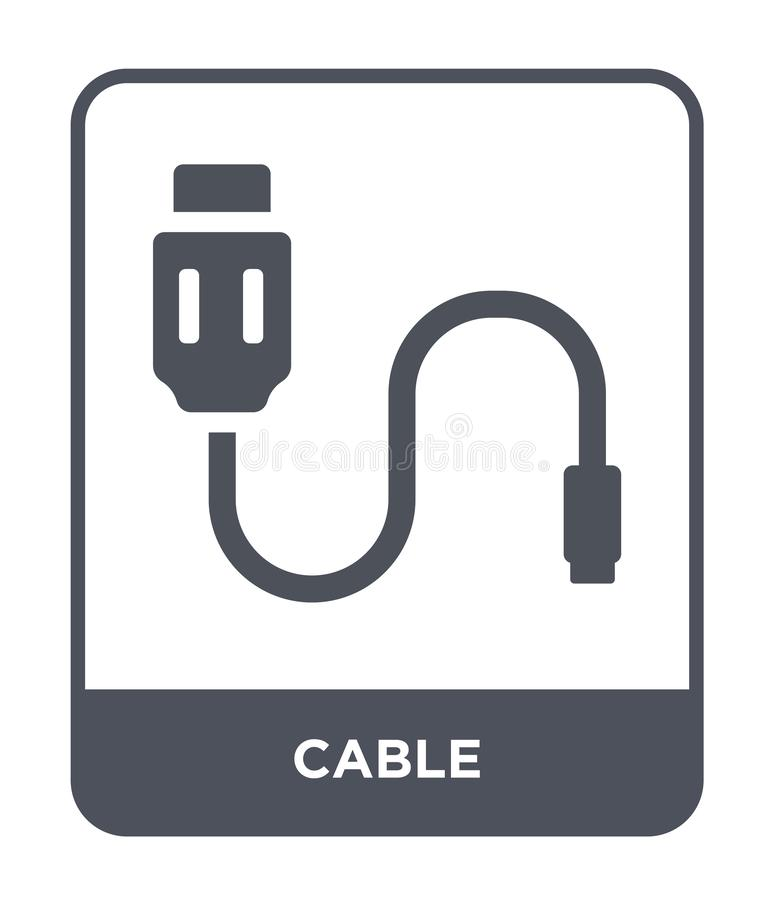 Optic Fiber Cable Vector Icon In Flat Style Stock Vector