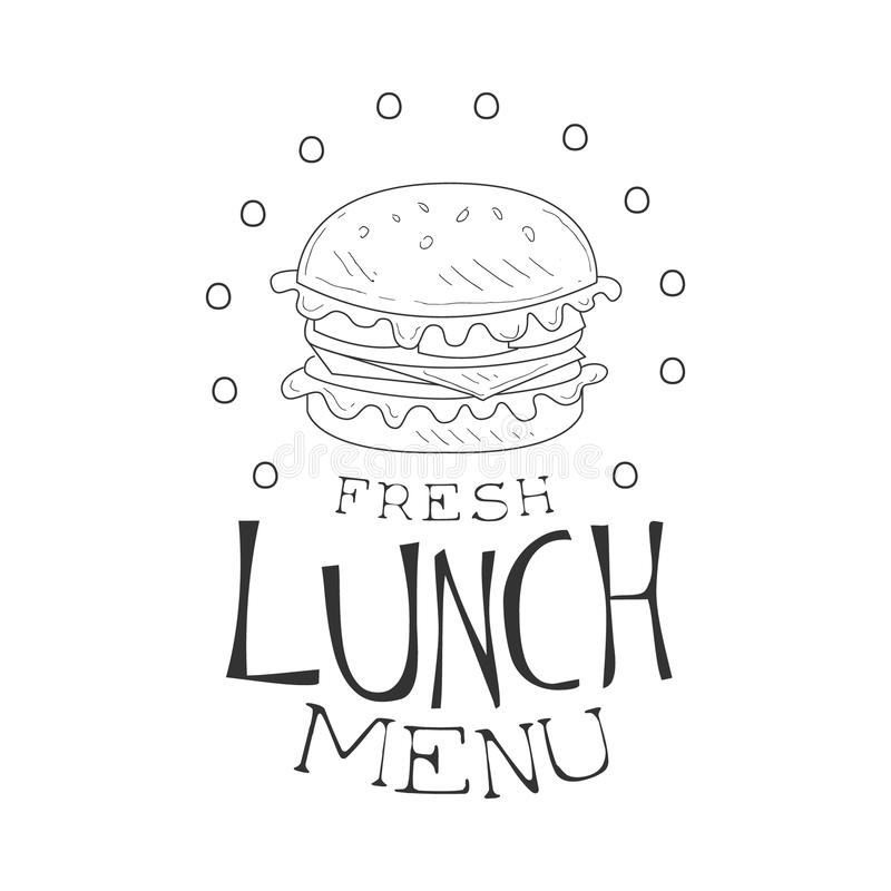 Cafe Lunch Menu Promo Sign In Sketch Style With Burger
