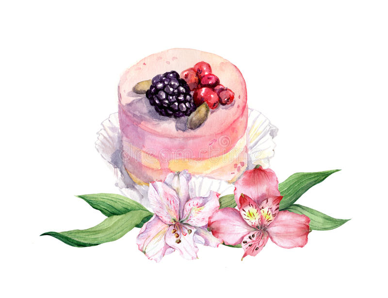 Cake With Berries And Pink Flowers Watercolor Stock