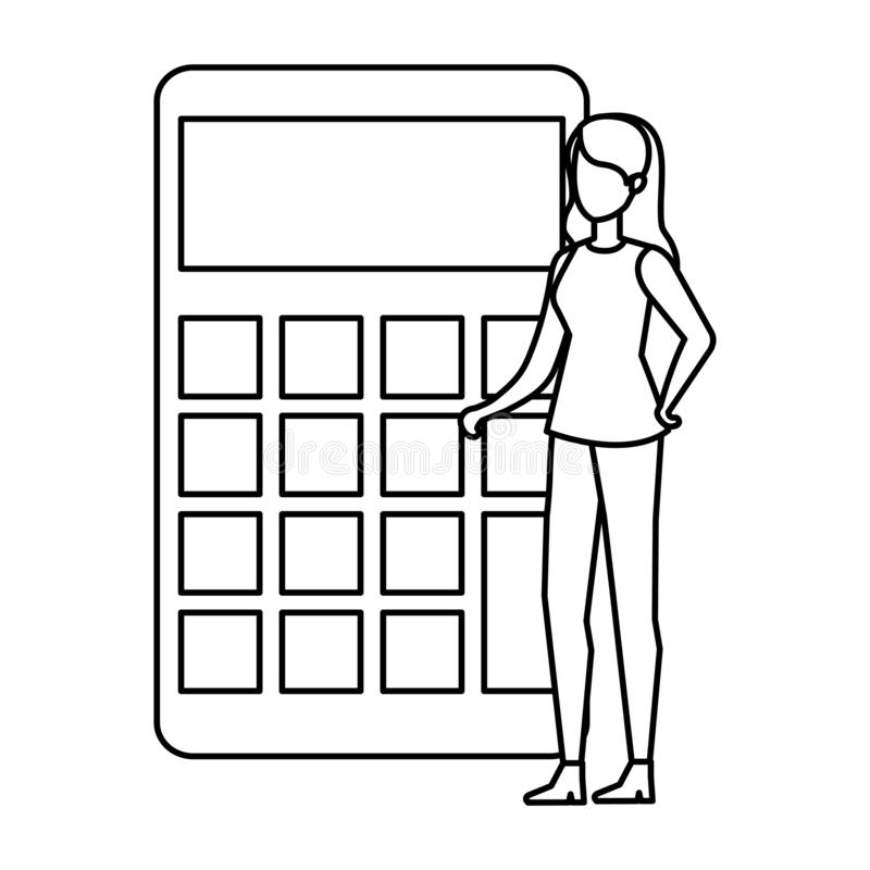 Person with a calculator stock illustration. Illustration
