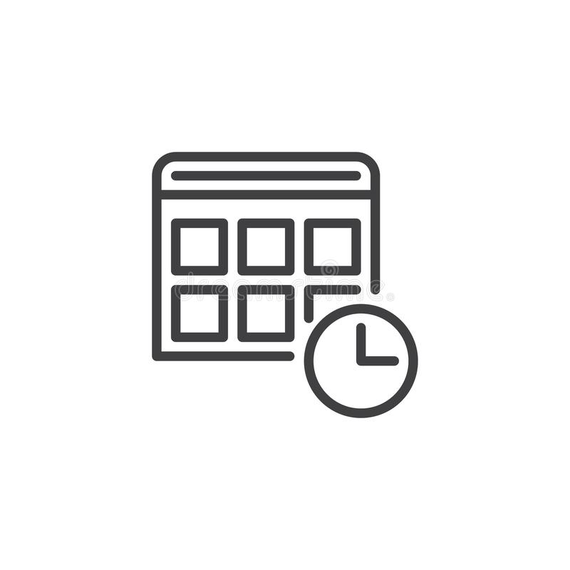 Calendar With Clock Line Icon, Outline Vector Sign, Linear