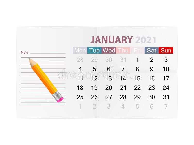 January 2021 Calendar stock vector. Illustration of