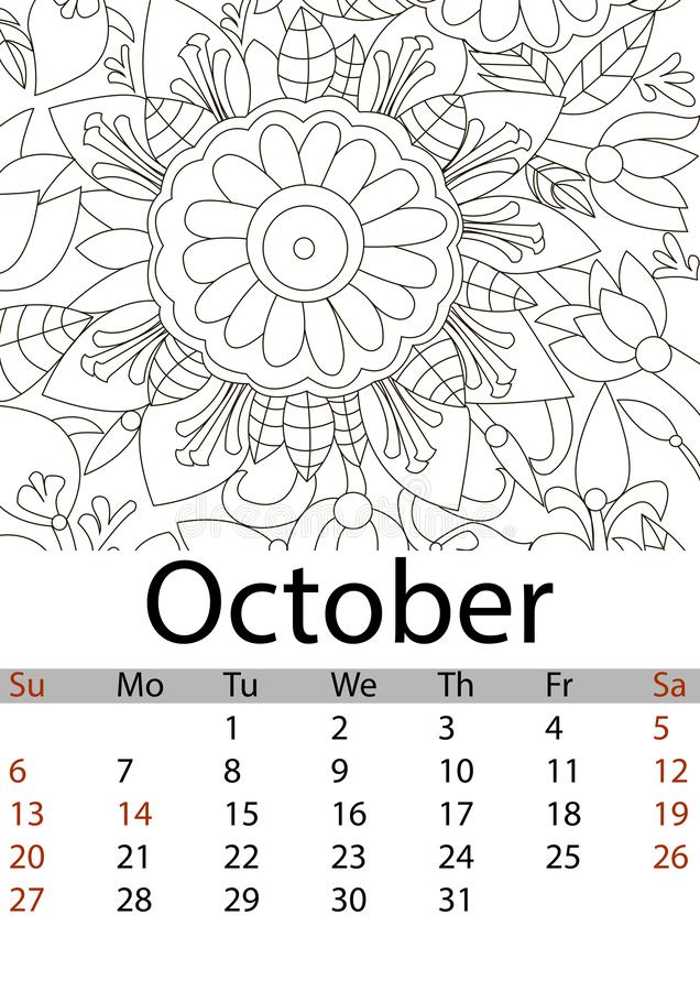 October Coloring Pages For Kids Stock Vector