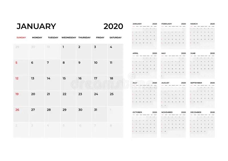 Calendar 2020 Template. Calendar Planning Week. Stock