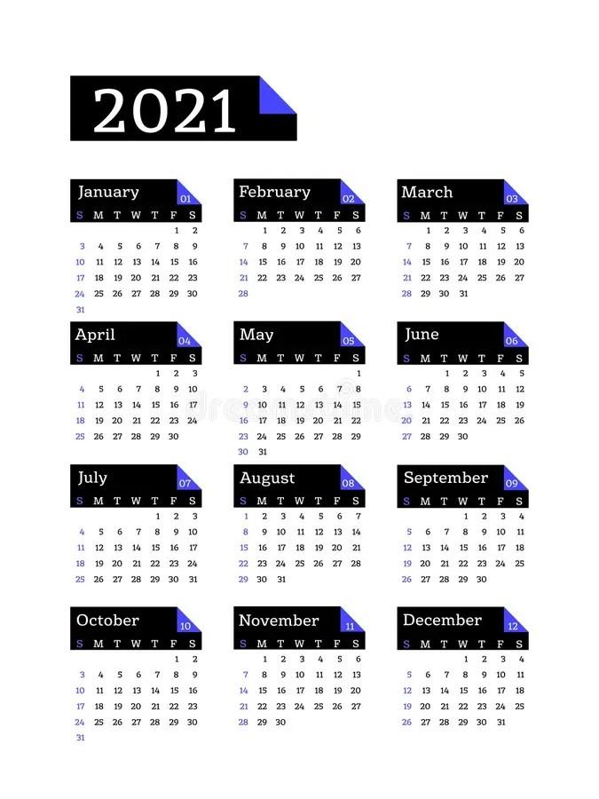 Calendar 2021 Year. Vector Pocket Or Wall Calender