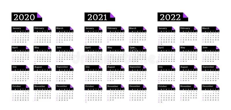 Calendar 2020, 2021 And 2022, Week Starts On Sunday, Basic