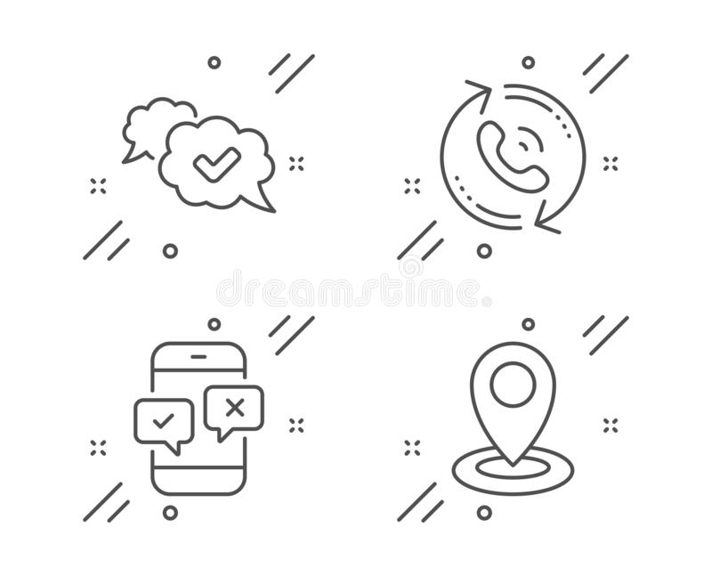 Phone Survey Line Icon. Select Answer Sign. Vector Stock