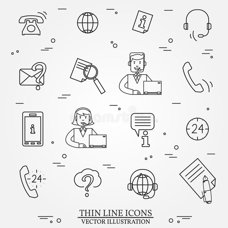 Call Center Question Answer Service Outline Thin Line