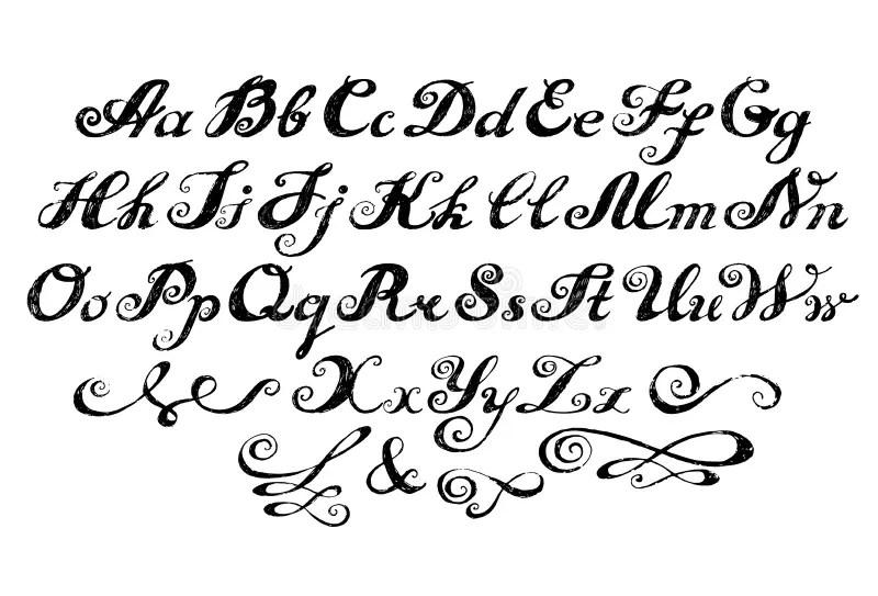 Calligraphy Alphabet Typeset Lettering. Stock Vector
