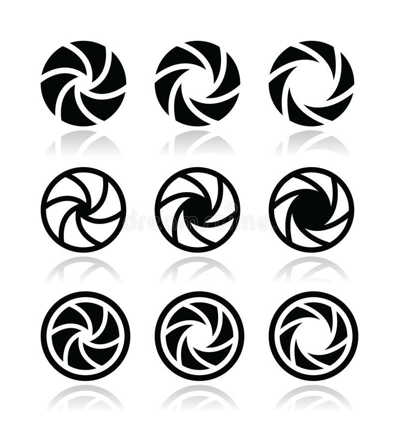 Camera Shutter Aperture Icons Set Royalty Free Stock