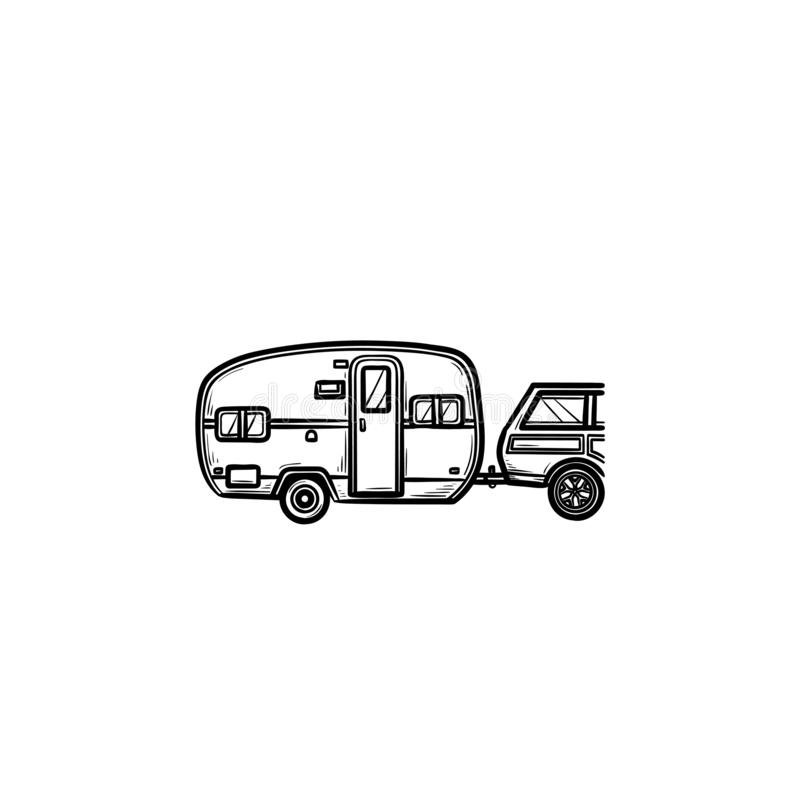 Airstream Camper Isolated stock illustration. Illustration