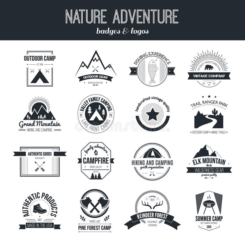 Nature Logo Emblem stock illustration. Illustration of