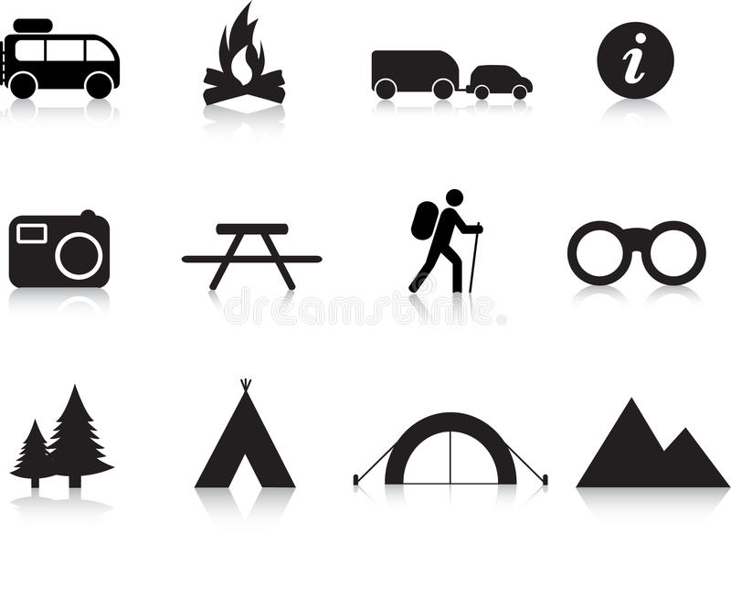 Camping And Outdoor Icon Set Royalty Free Stock