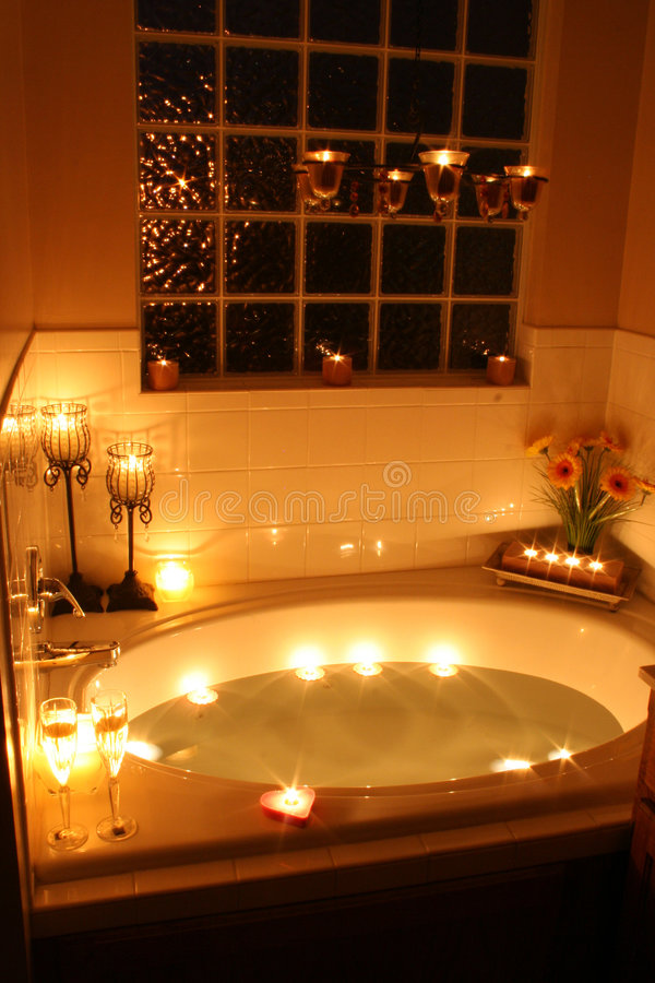 Candlelight Bath stock photo Image of romantic flowers