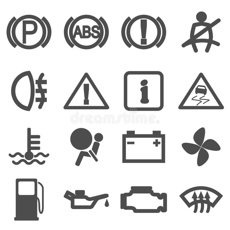 Car driving icons stock vector. Illustration of battery