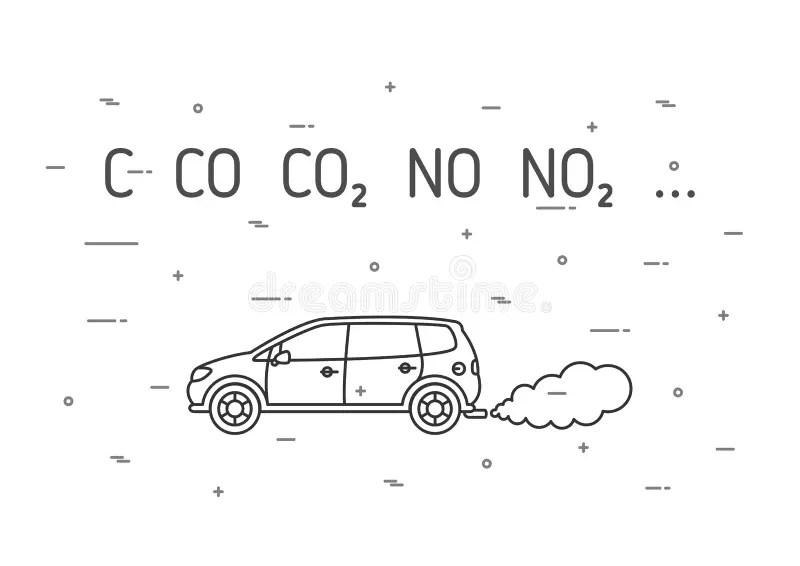 Car Exhaust Fumes Vector Illustration Stock Vector