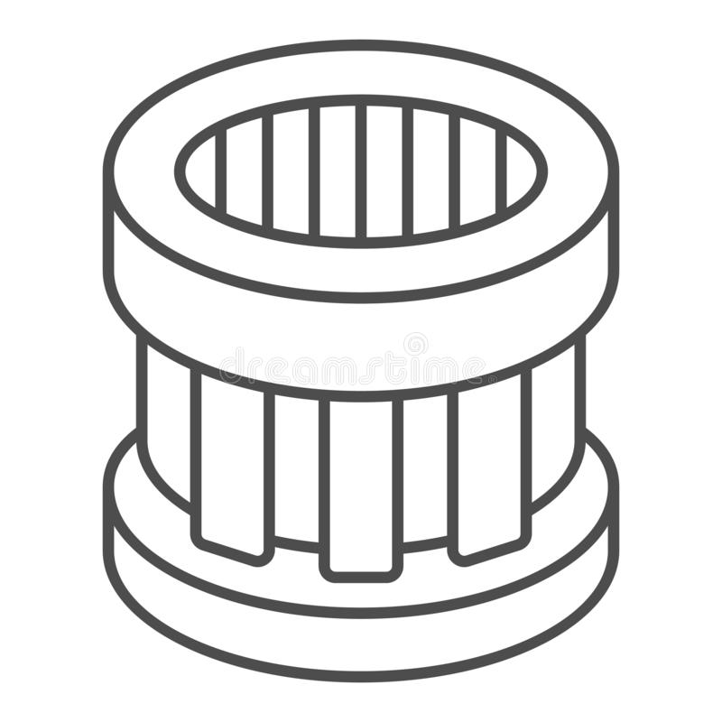 Car Oil Filter Line And Glyph Icon. Automotive Air Filter