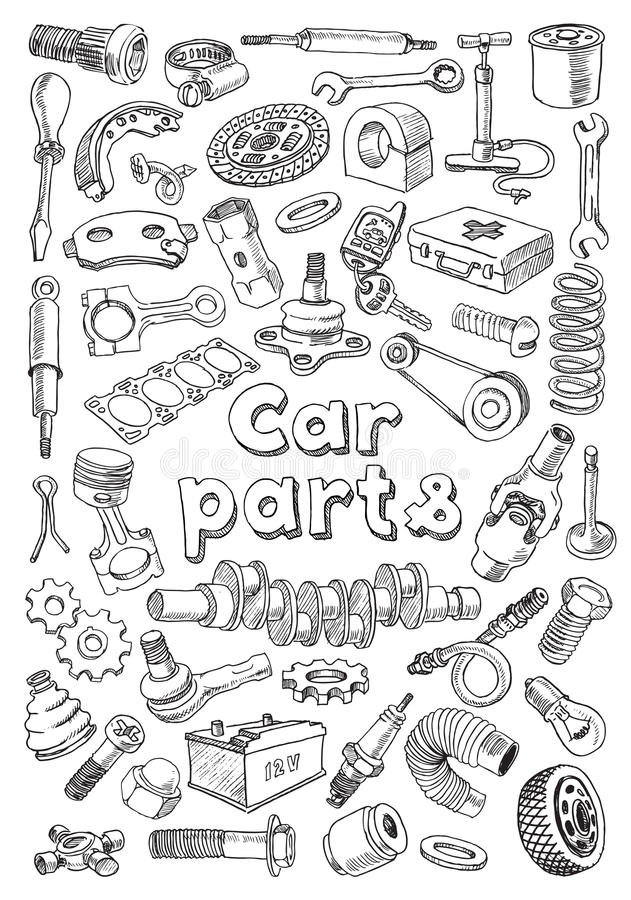Car Parts In Freehand Drawing Style Stock Illustration