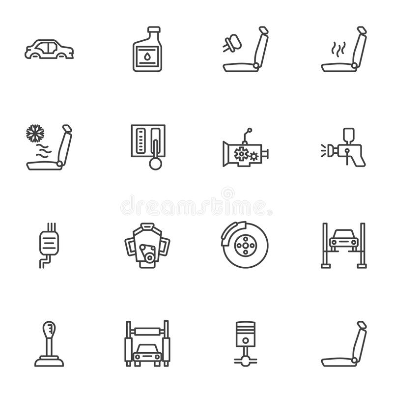 Car gearbox line icon stock vector. Illustration of