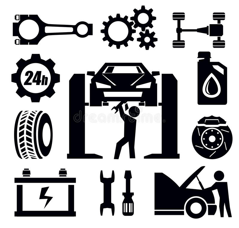 Car repair icon stock vector. Illustration of wrench