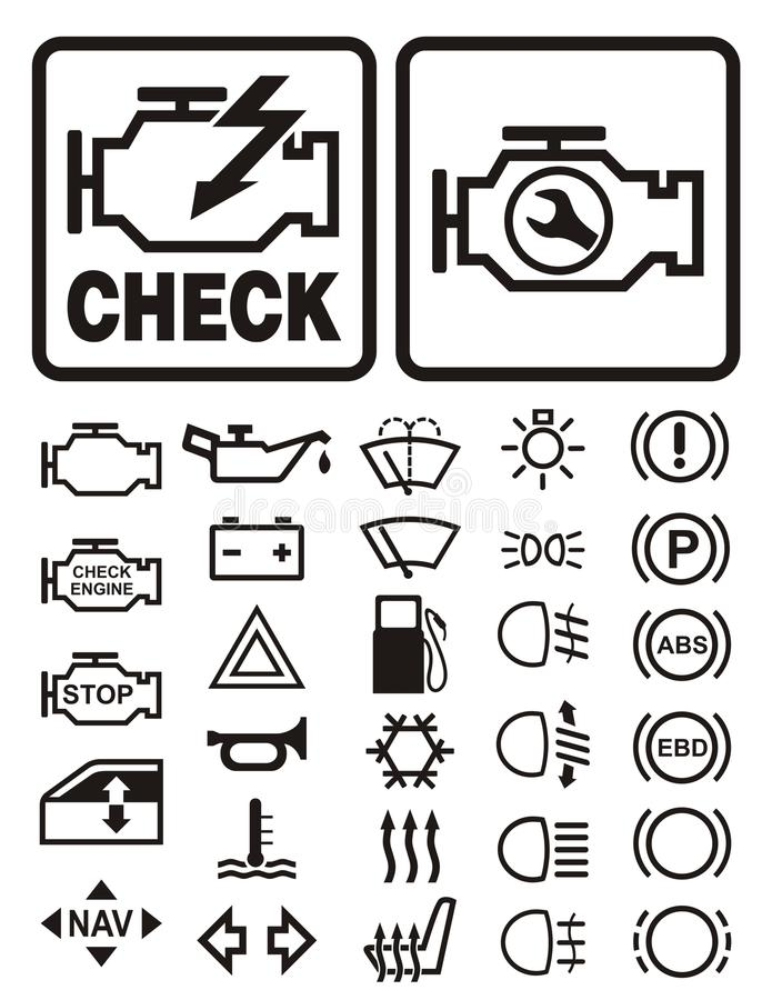 Car warning symbols stock vector. Image of headlight