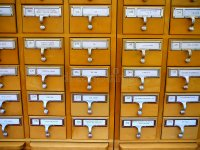 Card Catalog Cabinet In Academic Library Stock Image ...