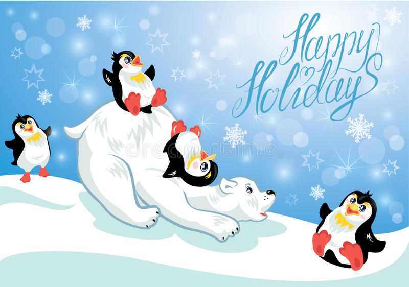Card With Funny Penguins And Polar Bear Stock Vector