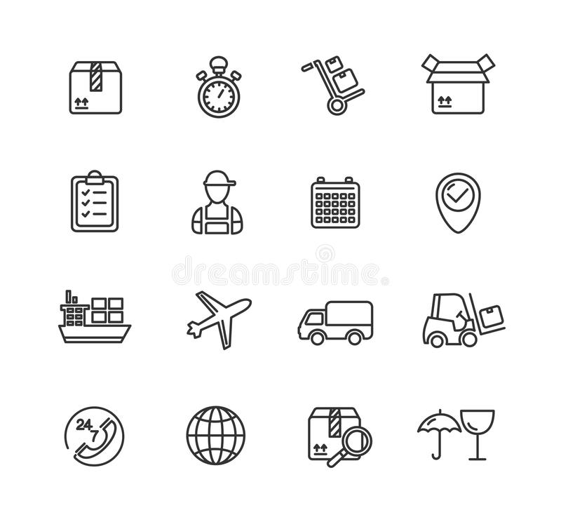 Cargo And Shipping Outline Icons Set. Vector Stock Vector