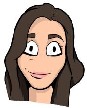 caricature of brunette girl stock
