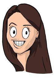 caricature of girl with dark brown
