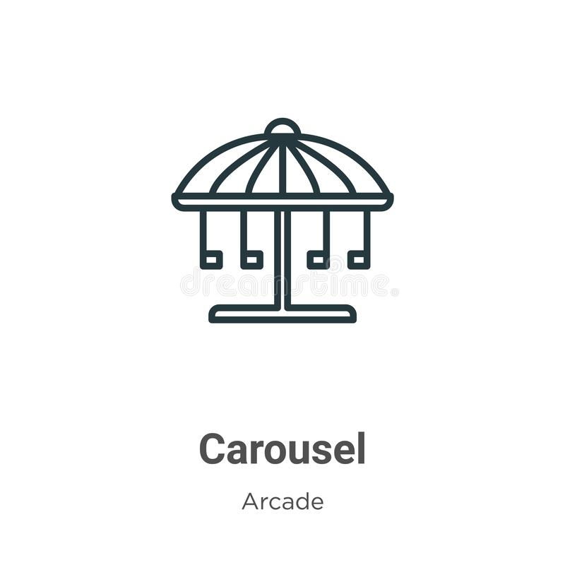 Outline Carousel Horse Vector Icon. Isolated Black Simple