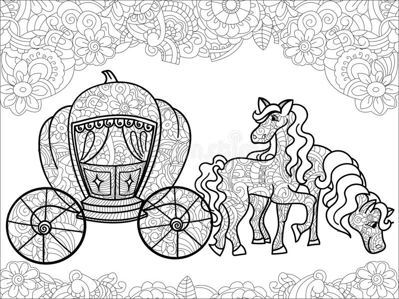 Black Carriage Horses Stock Illustrations