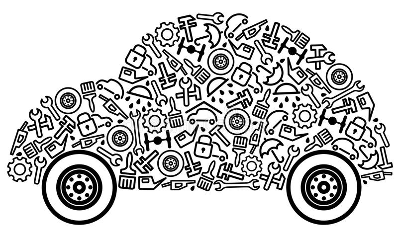 Cars and spare parts stock vector. Illustration of part