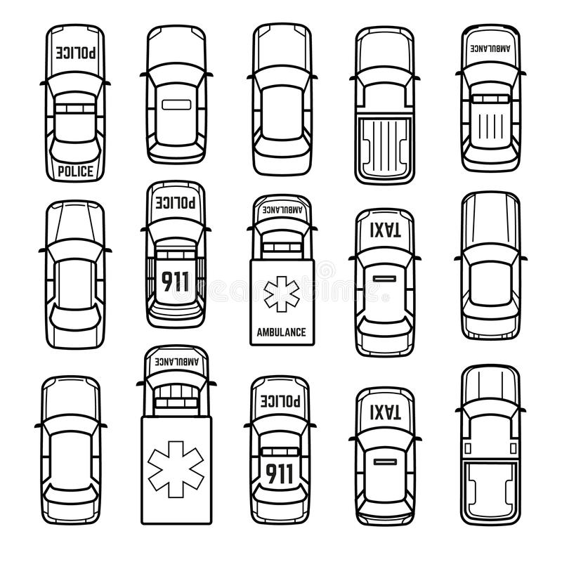 Cars Top View Thin Line Vector Icons Stock Vector