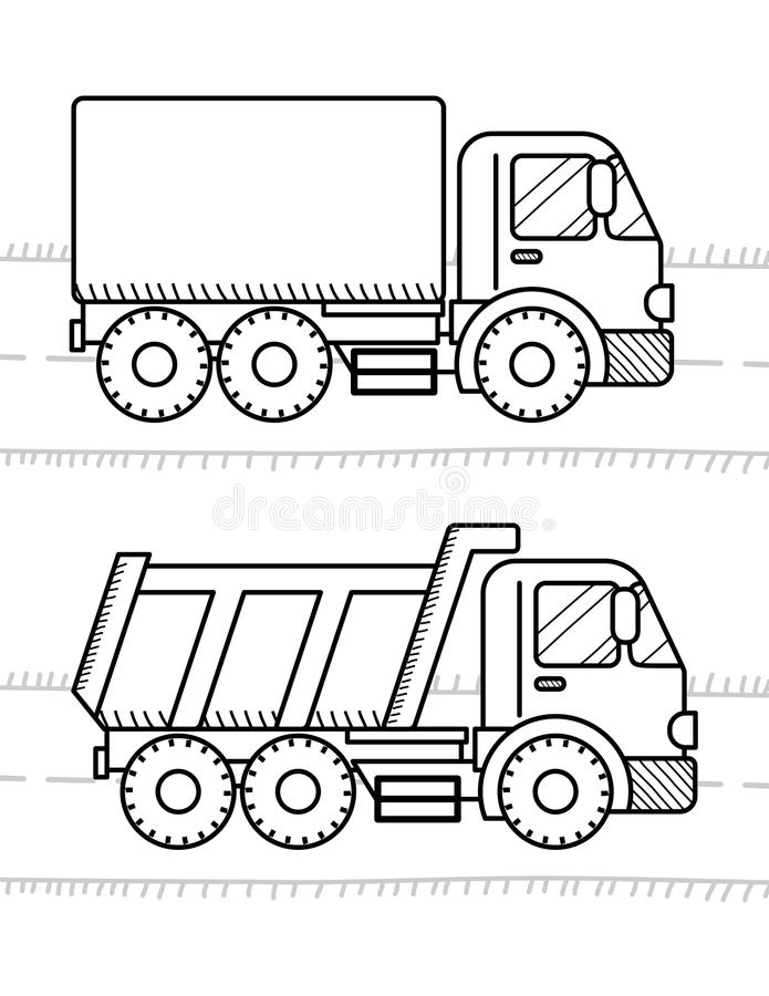 Cars And Vehicles Coloring Book For Kids. Dump Truck