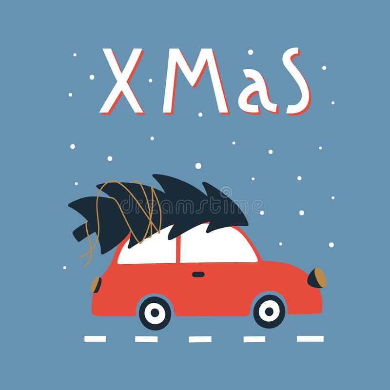 Automobile Di Natale Di Saluto E Di Nuovo Anno Illustrazione Vettoriale  Illustrazione di noel